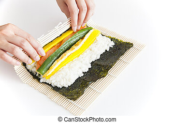 koreaanse, sushi, het bereiden