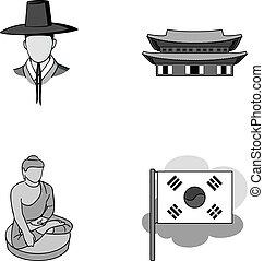 koreai, alatt, nemzeti, frizura, koreai, kolostor, buddha, szobrocska, nemzeti, flag., dél-korea, állhatatos, gyűjtés, ikonok, alatt, monochrom, mód, vektor, jelkép, állandó ábra, web.