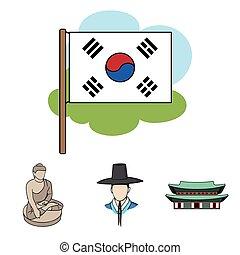 koreai, alatt, nemzeti, frizura, koreai, kolostor, buddha, szobrocska, nemzeti, flag., dél-korea, állhatatos, gyűjtés, ikonok, alatt, karikatúra, mód, vektor, jelkép, állandó ábra, web.