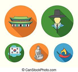 koreai, alatt, nemzeti, frizura, koreai, kolostor, buddha, szobrocska, nemzeti, flag., dél-korea, állhatatos, gyűjtés, ikonok, alatt, lakás, mód, vektor, jelkép, állandó ábra, web.