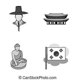 koreai, alatt, nemzeti, frizura, koreai, kolostor, buddha, szobrocska, nemzeti, flag., dél-korea, állhatatos, gyűjtés, ikonok, alatt, monochrom, mód, raster, jelkép, állandó ábra, web.