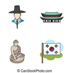 koreai, alatt, nemzeti, frizura, koreai, kolostor, buddha, szobrocska, nemzeti, flag., dél-korea, állhatatos, gyűjtés, ikonok, alatt, karikatúra, mód, raster, jelkép, állandó ábra, web.