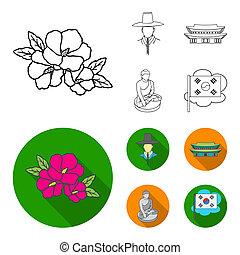 koreai, alatt, nemzeti, frizura, koreai, kolostor, buddha, szobrocska, nemzeti, flag., dél-korea, állhatatos, gyűjtés, ikonok, alatt, áttekintés, mód, jelkép, állandó ábra, web.