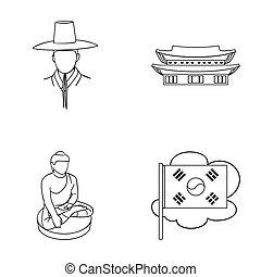 koreai, alatt, nemzeti, frizura, koreai, kolostor, buddha, szobrocska, nemzeti, flag., dél-korea, állhatatos, gyűjtés, ikonok, alatt, áttekintés, mód, raster, bitmap, jelkép, állandó ábra, web.