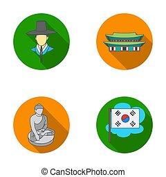koreai, alatt, nemzeti, frizura, koreai, kolostor, buddha, szobrocska, nemzeti, flag., dél-korea, állhatatos, gyűjtés, ikonok, alatt, lakás, mód, raster, bitmap, jelkép, állandó ábra, web.