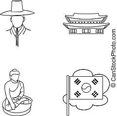 koreai, alatt, nemzeti, frizura, koreai, kolostor, buddha, szobrocska, nemzeti, flag., dél-korea, állhatatos, gyűjtés, ikonok, alatt, áttekintés, mód, vektor, jelkép, állandó ábra, web.