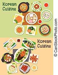 Korean and asian cuisine popular dishes icon set - Korean...