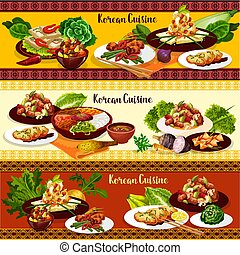Korean bbq meat dishes with vegetables and dessert
