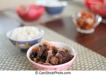 Korean beef stew and rice