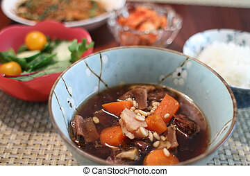 Korean beef stew and sides