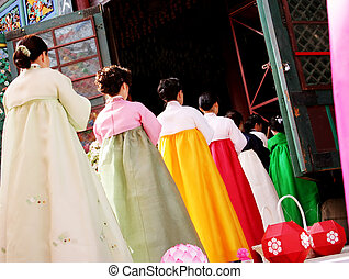 Korean ceremony - Traditional ceremony at a temple in South...