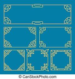 Korean, chinese, japanese vintage frames, borders, pattern brush. Asia style vector set