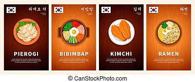 Korean cuisine, asian traditional food, national dishes on a wooden table. Bibimbap, Kimchi, Ramen, Pierogi. Top view. Template for vertical web banner, menu. Flat vector illustration.