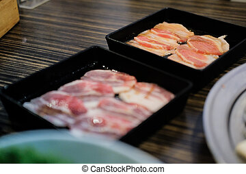 Korean cuisine barbecue grill meat in black tray