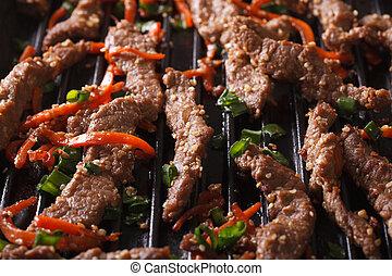 Korean cuisine: bulgogi of grilled macro. horizontal -...