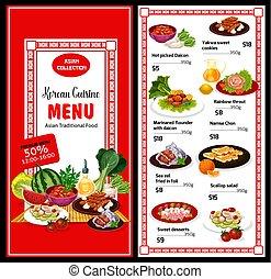 Korean cuisine menu and prices, Asian food poster - Korean...