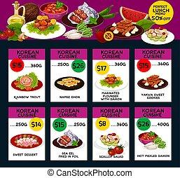 Korean cuisine menu design - Korean cuisine colorful menu...