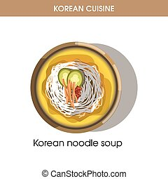 Korean cuisine noodle soup traditional dish food vector icon for restaurant menu