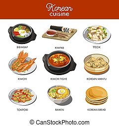 Korean cuisine traditional dishes flat icons. Vector set of...
