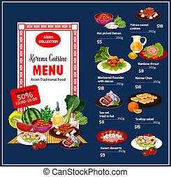 Korean cuisine traditional dishes, vector - Korean cuisine...