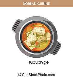 Korean cuisine Tubuchige soup traditional dish food vector icon for restaurant menu