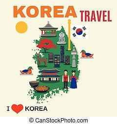 Korean Culture Symbols Map Travel Poster