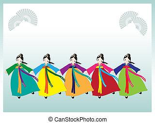 Korean dancers - A row of cute Korean girls in national...
