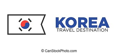 Korean flag and travel destination words - Vector...