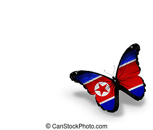 Korean flag butterfly, isolated on white background