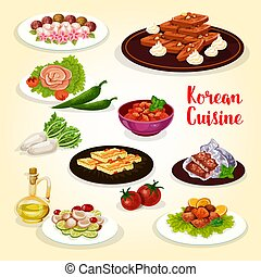 Korean food icon with dishes of Asian cuisine - Korean food...