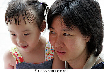Korean girl with her mom