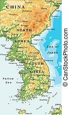 Korean Peninsula relief map - Highly detailed vector map of ...