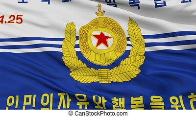 Korean Peoples Navy Flag Closeup Seamless Loop - Korean...