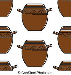 Korean pottery seamless pattern clay saucepan with ornament...