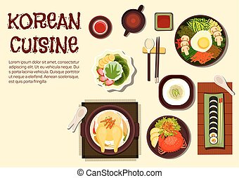 Colorful summer dishes of korean cuisine icon with chicken ginseng soup, sushi rolls kimbap, rice bibimbap topped with vegetables and fried egg, cold noodles, spicy crab and jujube tea with shaved ice dessert topped with strawberry, kiwi and banana fruits. Flat style