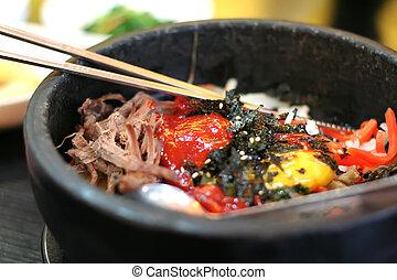 Traditional Korean cusine bimbimbap dish of mixed rice