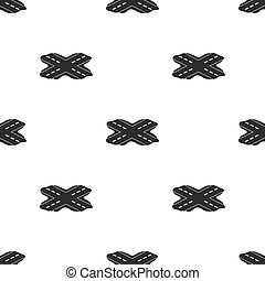 Korean rossroads icon in  black style isolated on white background. South Korea pattern stock vector illustration.
