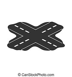 Korean rossroads icon in  black style isolated on white background. South Korea symbol stock vector illustration.