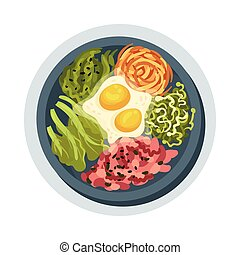 Korean Spicy Food Layout Top View Vector Illustration. ...