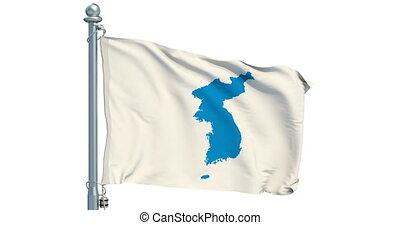 Korean Unification Flag on white background, animation. 3D rendering