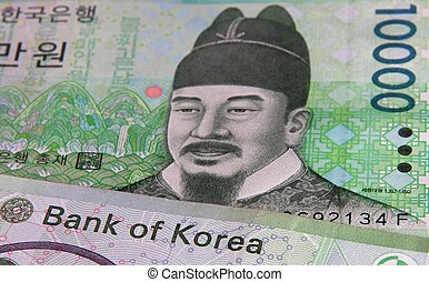 A detailed close-up of the 10,000 Won, depicting the words Bank of Korea.