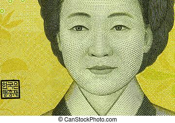 Korean won - Macro photo of an image in the 50 thousand...