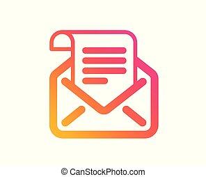 korespondence, číst, podpis., vektor, pošta, icon., newsletter, poselství