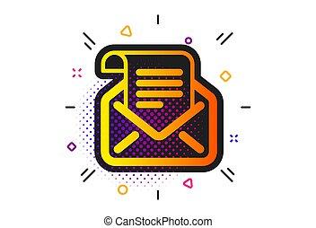 korespondence, pošta, poselství, vektor, newsletter, číst, icon., podpis.