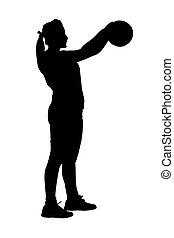 korfball, 女性, leagu, シルエット