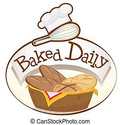 korg, bröd, bakat, dagligen, etikett