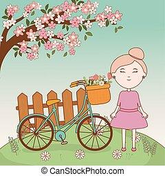 korg, flicka, tecknad film, cykel, filial, träd, blomningen, staket