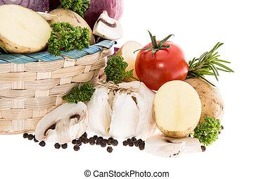 korg, grönsaken, vit