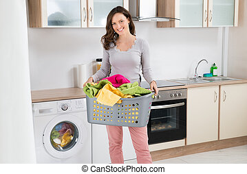 korg, kvinna, bärande, tvättstuga
