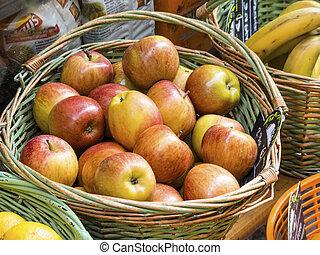 korg, med, äpplen, in, den, marknaden